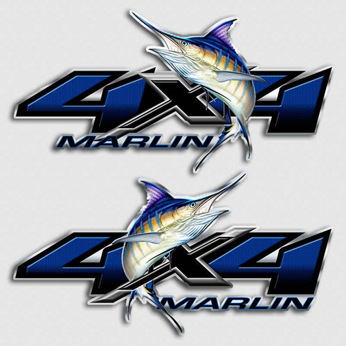 4x4 Blue Marlin Fishing Truck Decals