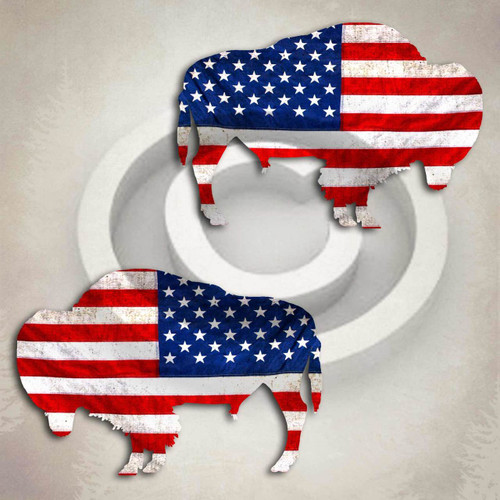 American Flag Buffalo Decal Set