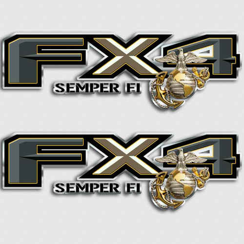 FX4 Marines SEMPER FI Truck Decals