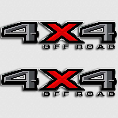 4x4 Ford F-150 Gray Red Off Road Truck Decals