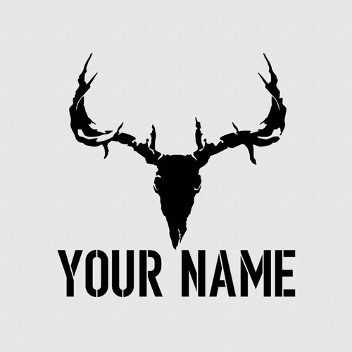 Deer Skull Custom Name Tumbler Decal