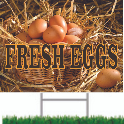 Fresh Eggs Road Sign Looks Great & Brings In Customer
