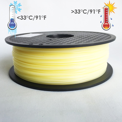 Temperature Color Changing Yellow to White PLA 3D Printing Filament 1kg