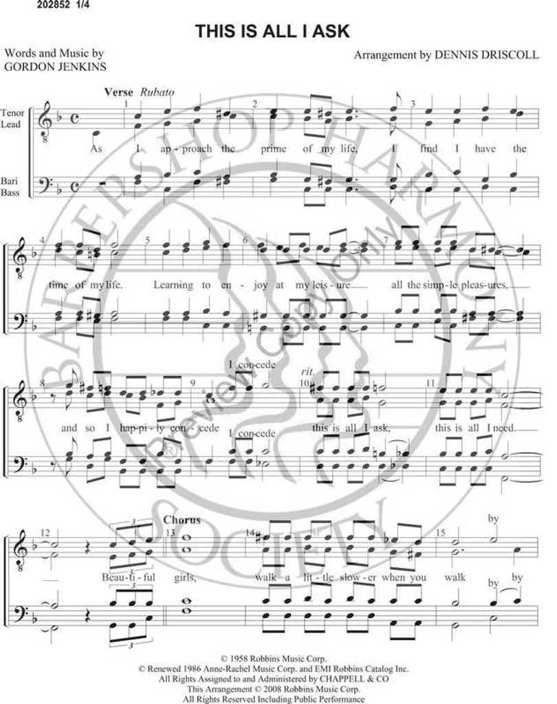 This Is All I Ask (TTBB) (arr. Dennis Driscoll)-Download-UNPUB