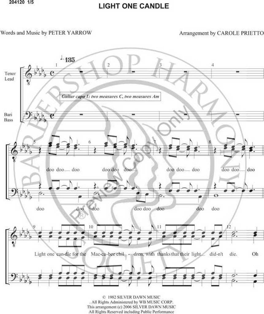Light One Candle (TTBB) (arr. Carole Prietto)-Download-UNPUB