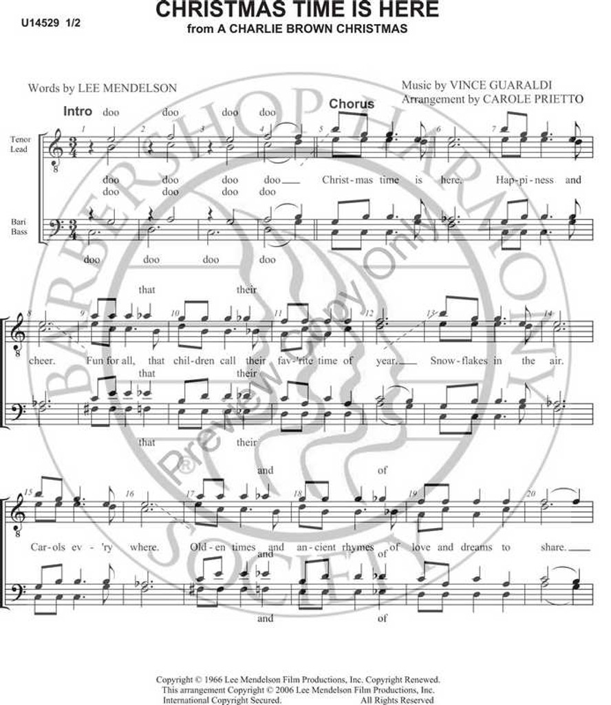 Christmas Time Is Here 2 (TTBB) (arr. Carole Prietto)-Download-UNPUB