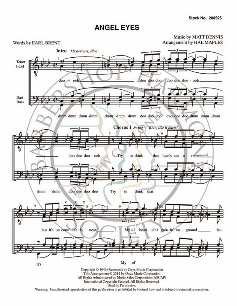 Angel Eyes (TTBB) (arr. Halleck Maples)-Download-UNPUB