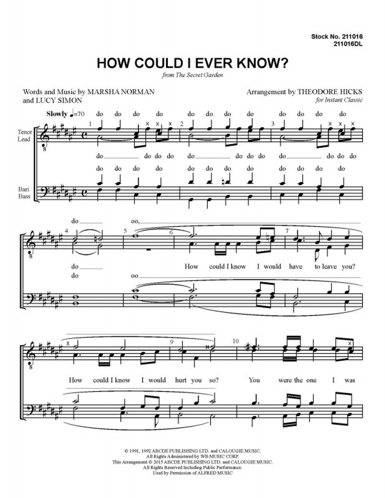 How Could I Ever Know (TTBB) (arr. Theo Hicks)-UNPUB