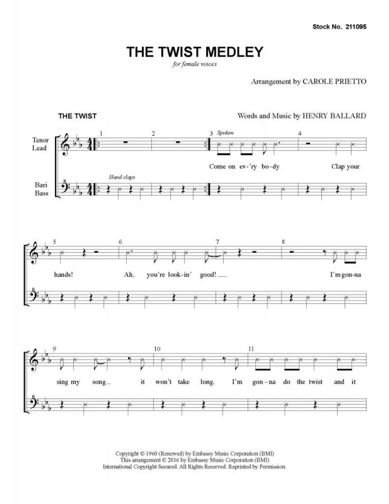 Twist Medley (Let's Twist Again/The Twist) (SSAA) (arr. Carole Prietto)-UNPUB