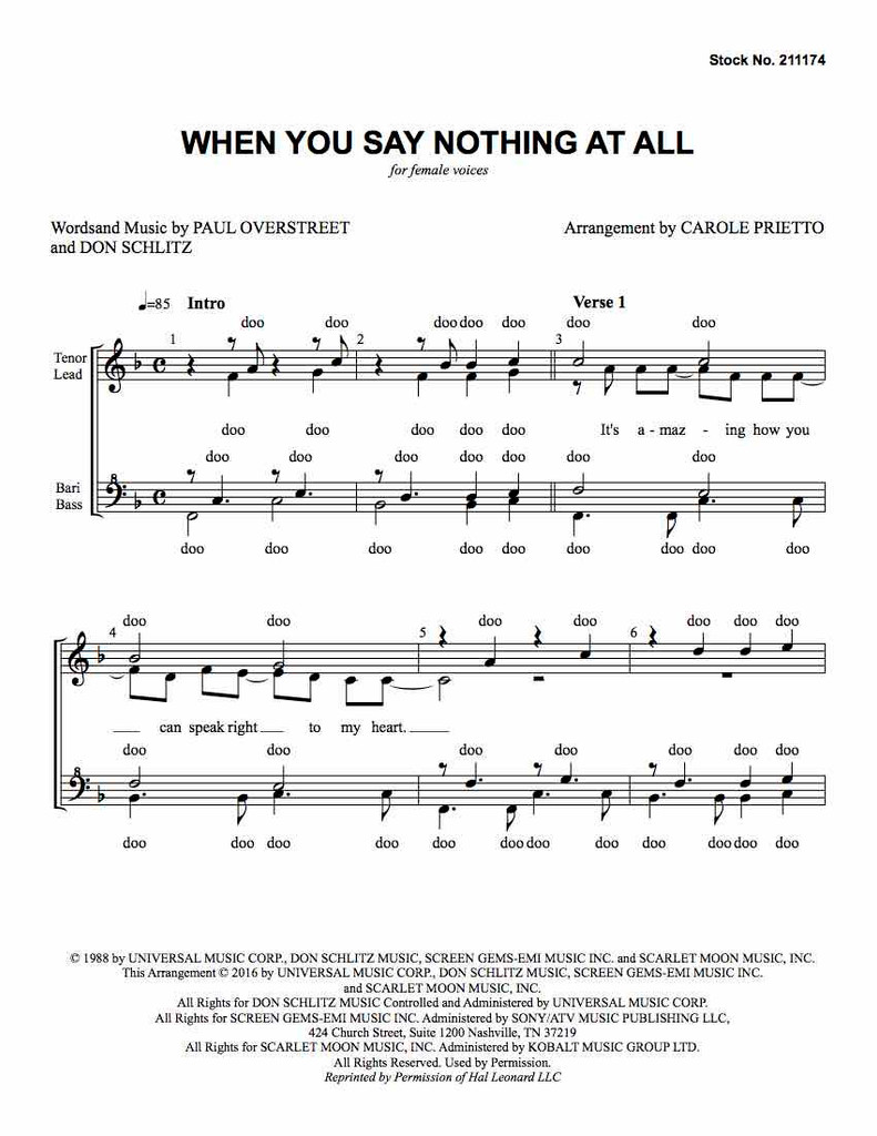 When You Say Nothing At All (SSAA) (arr. Prietto)