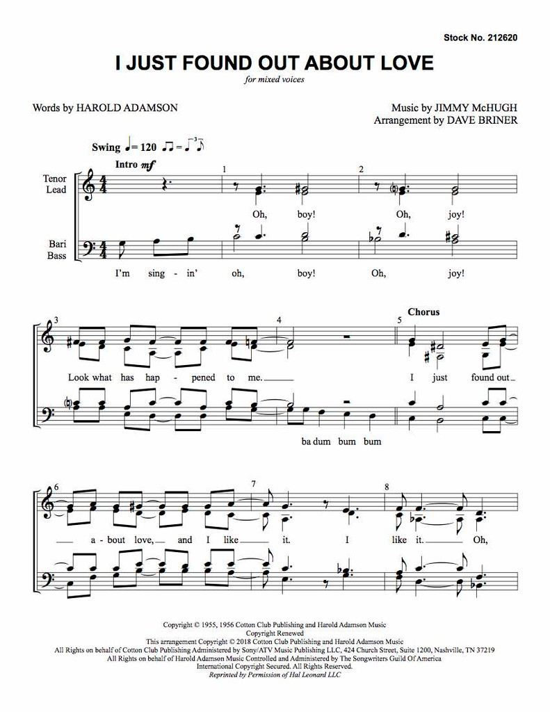 I Just Found out About Love (SATB) (arr. Briner) - Download