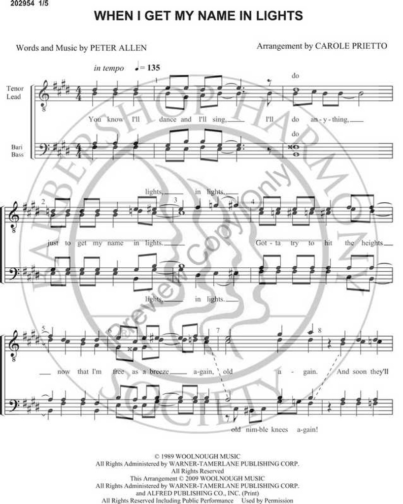 When I Get My Name In Lights (TTBB) (arr. Carole Prietto)-UNPUB