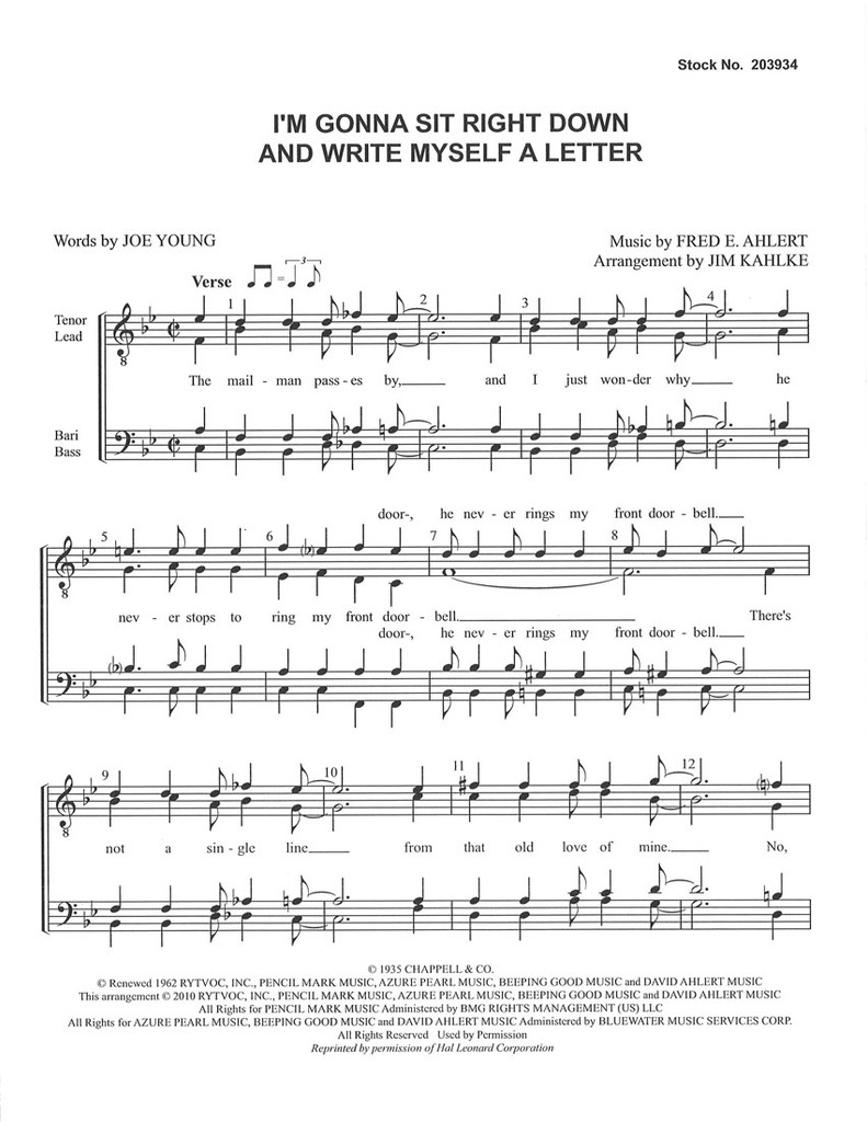 I'm Gonna Sit Right Down and Write Myself a Letter (TTBB) (arr. Kahlke)