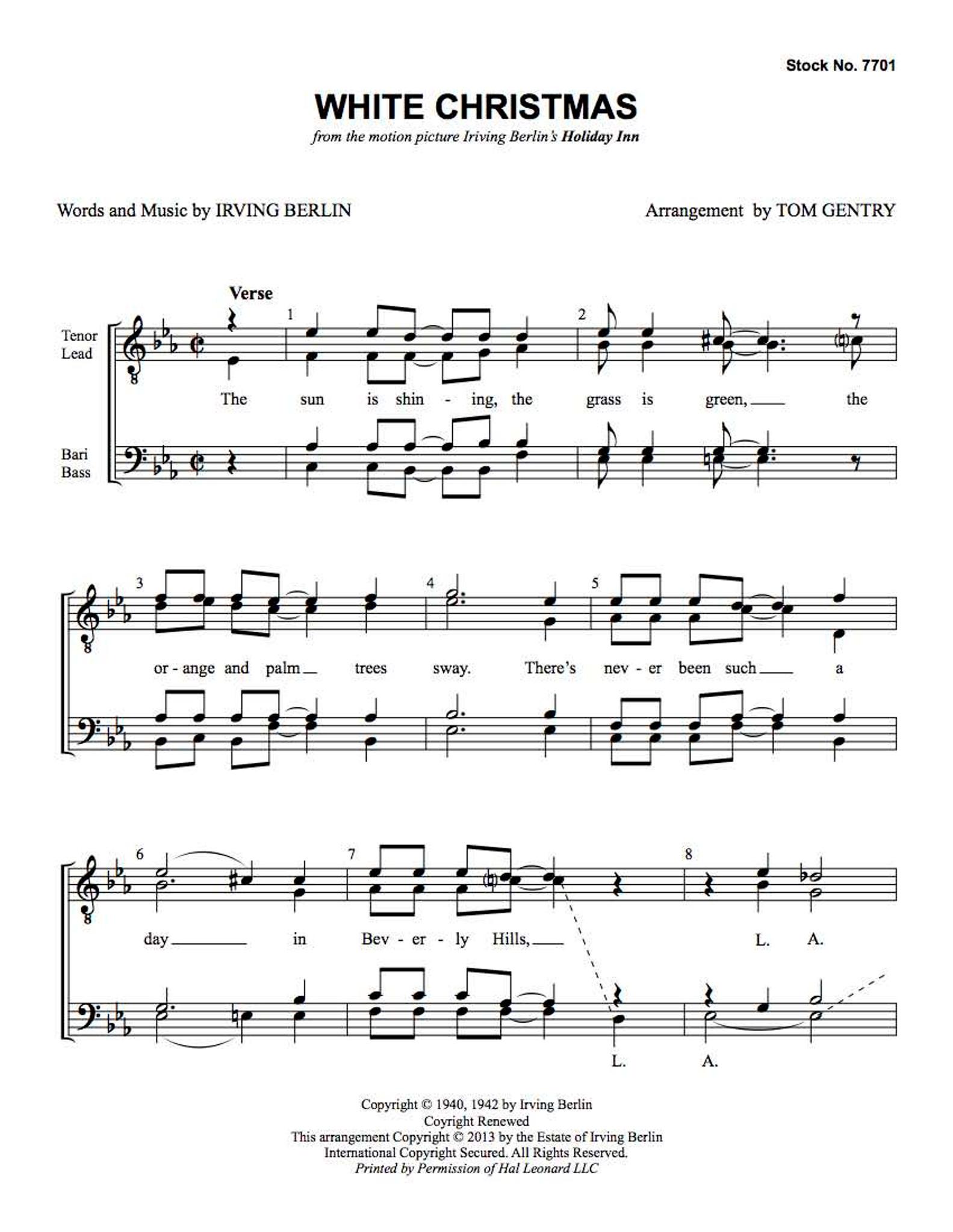 White Christmas (TTBB) (arr. Gentry) - Download - Barbershop Harmony ...