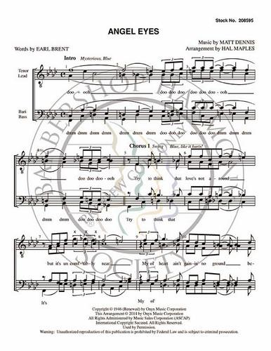 Angel Eyes (TTBB) (arr. Halleck Maples)-Download-UNPUB