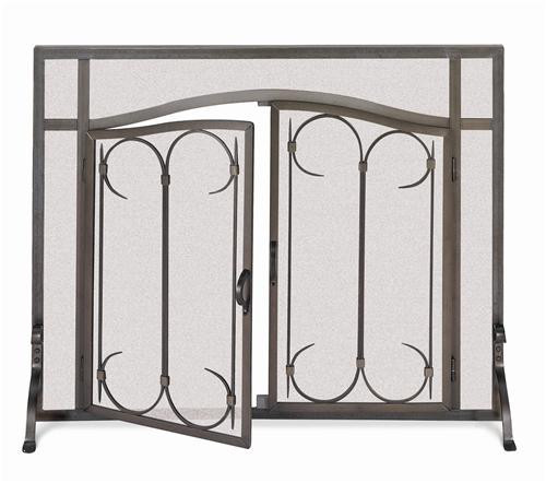 "18428, ""Arch top doors"", by Pilgrim Home And Hearth, Free Shipping, MSRP ($429.00), solid angle iron steel fireplace screen"