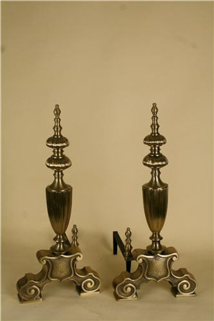 "809, ""Solid brass andirons"", by Portland Willamette,  Free  Shipping, MSRP ($2,906.00)"