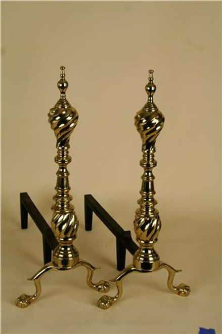 "5044, ""Ansoborough Andirons"", by Virginia Metalcrafters, Free Shipping, MSRP ($914.00), Polished Brass"