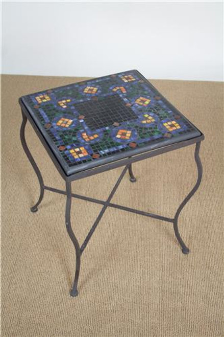 "G31-12, ""Caramel Butterfly"", by KNF Designs, Free Shipping, MSRP ($585.00), 18"" mosaic square end-table with aluminum base"