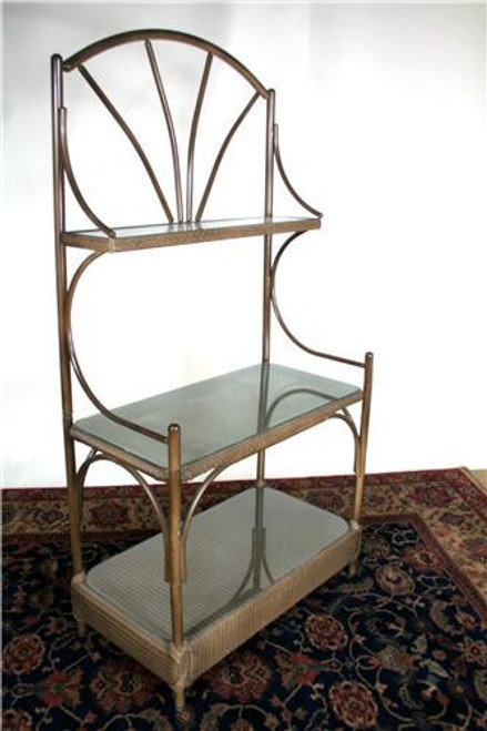 "6359, ""Outdoor wicker baker's rack"", by Lloyd Flanders, Free Shipping, MSRP ($1,300.00), with glass shelves"