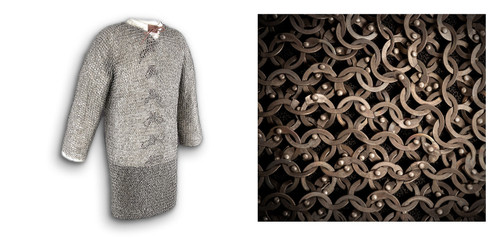 "AB2502, ""Chest 48"" Titanium Chainmail Hauberk"", by Get Dressed For Battle (GDFB), Free Shipping, MSRP ($2,659.00), Code Ti"