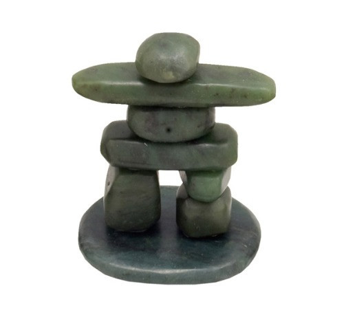 "JNKM, ""Tumbled Jade"" , by Nature's Expression, Free Shipping, MSRP ($48.00), Inukshuk on Base - 2.5"""