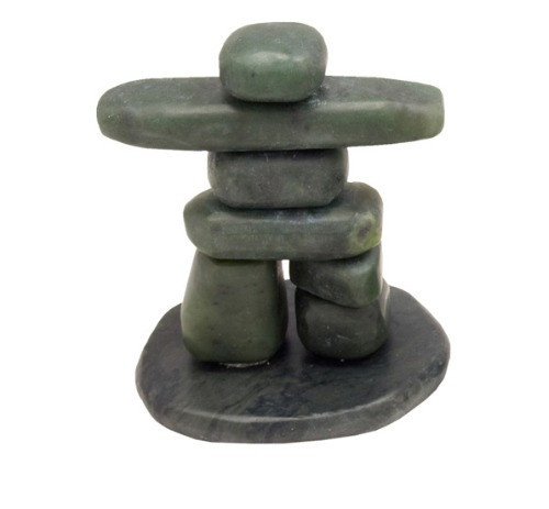 "JNKL, ""Tumbled Jade"", by Nature's Expression, Free Shipping, MSRP ($60.00), Inukshuk on Base - 3"""