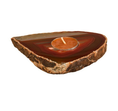"TRSA, ""Agate Slab Red Candle Holder"" by Nature's Expression, Free Shipping, MSRP ($36.00)"