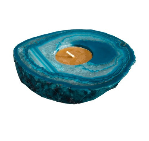 "TTSA ""Agate Slab Teal Candle Holder"", by Nature's Expression, Free Shipping, MSRP ($36.00)"