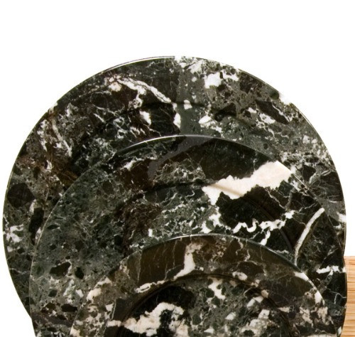 "PBZXL, ""Black Zebra Marble 11.5"" Plates"", by Nature's Expression, Free Shipping, MSRP ($75.00)"