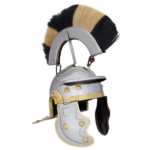 "AB3002, ""18G Black and White Crest Roman Gallic Helmet"", by SAY, MSRP ($169.00)"