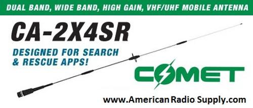 Comet CA-2X4SRNMO Broadband VHF/UHF Dual Band Ham Radio Mobile Antenna