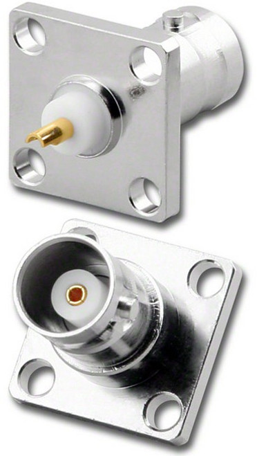 BNC-Female 4-Hole Panel Mount Coaxial Connector