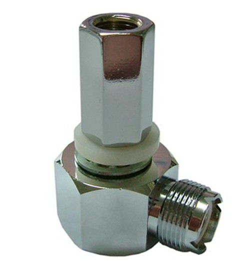 """OPEK SM-1L - Right Angle Antenna Adapter - SO-239 to 3/8"""" x 24 Thread"""