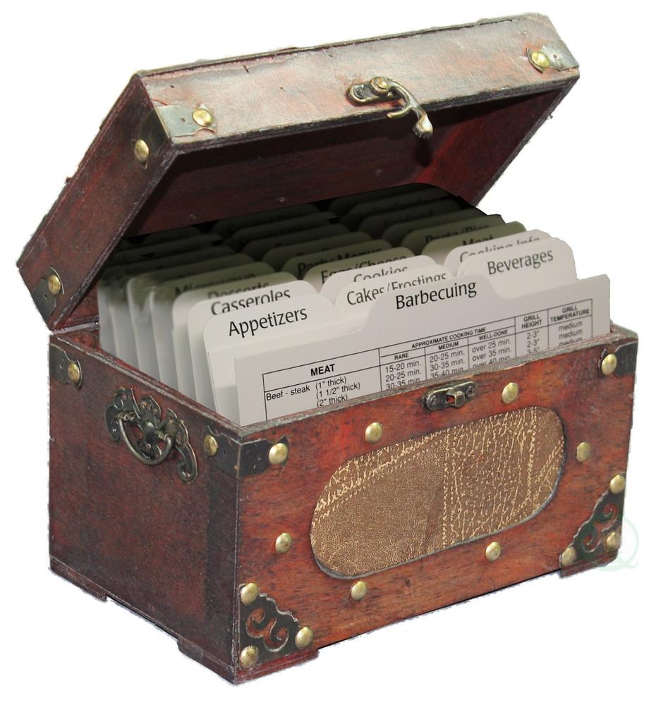 Decorative Recipe Box 2: Antique Wooden Recipe Card Box