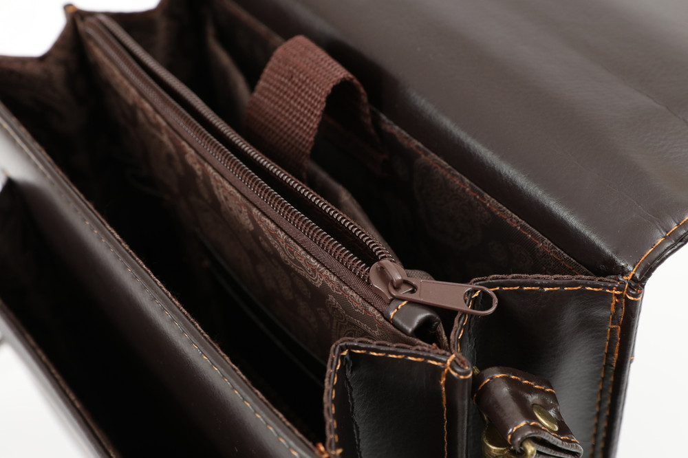 Small Brown Leather Messenger Bag-Business Briefcase Tablet Bag