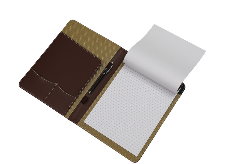 Brown Leather Business Padfolio Portfolio with Large Notepad