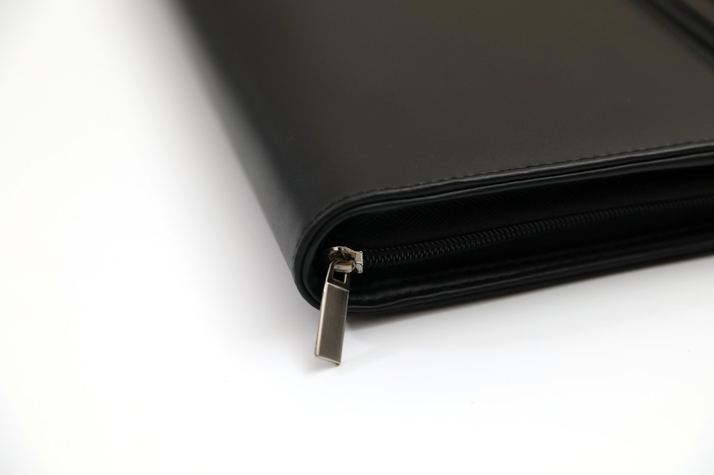 Black Leather Business Portfolio with Handles