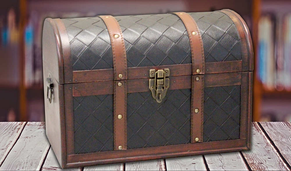... Wooden Leather Round Top Treasure Chest Decorative Storage Trunk With  Lockable Latch ...