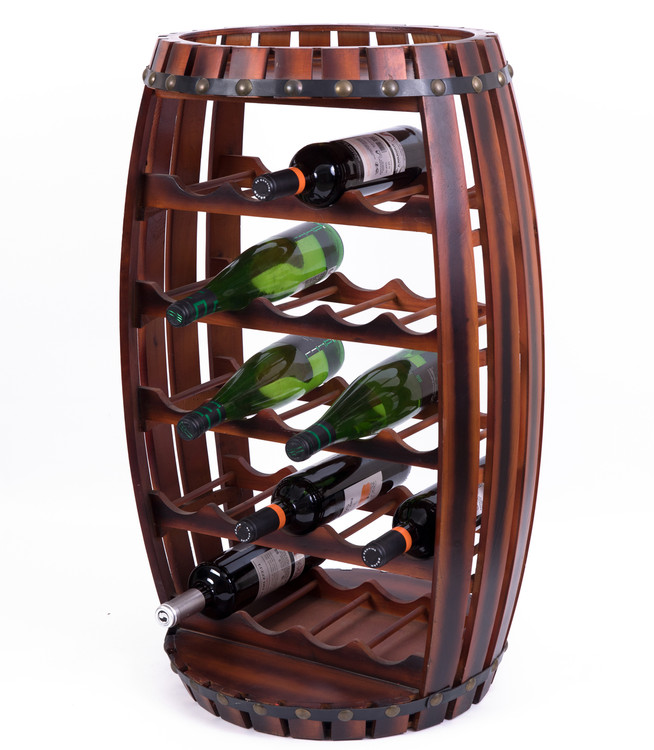 Large Wooden Barrel Shaped 23 Bottle Wine Rack
