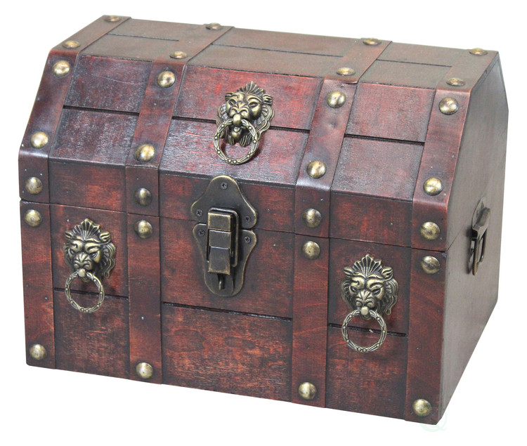 Antique Wooden Pirate Chest with Lion Rings and Lockable Latch