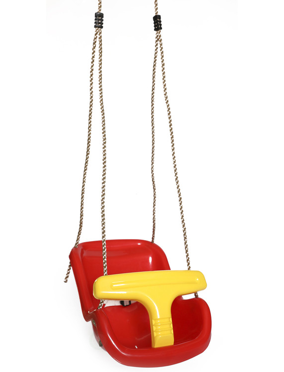 Red Plastic Baby and Toddler Swing Seat with Hanging Ropes