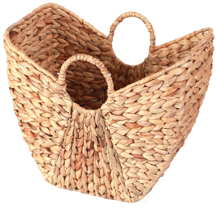 Large Wicker Laundry Basket with Round Handles