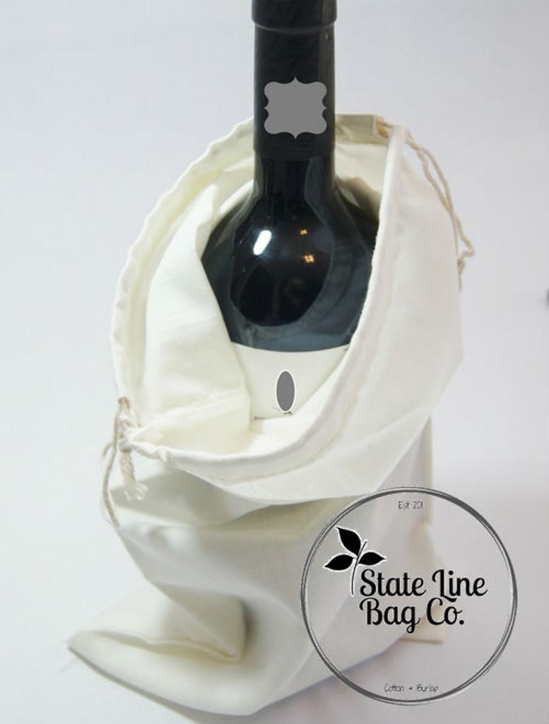 "Premium Double - Drawstring Cotton Muslin Bags 8"" x 16"""