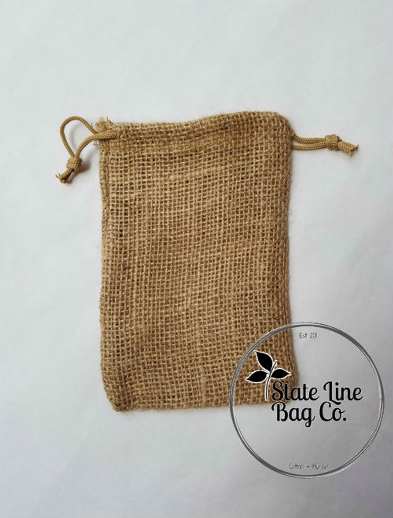 "6"" x 8"" Burlap Bag Double - Drawstring"