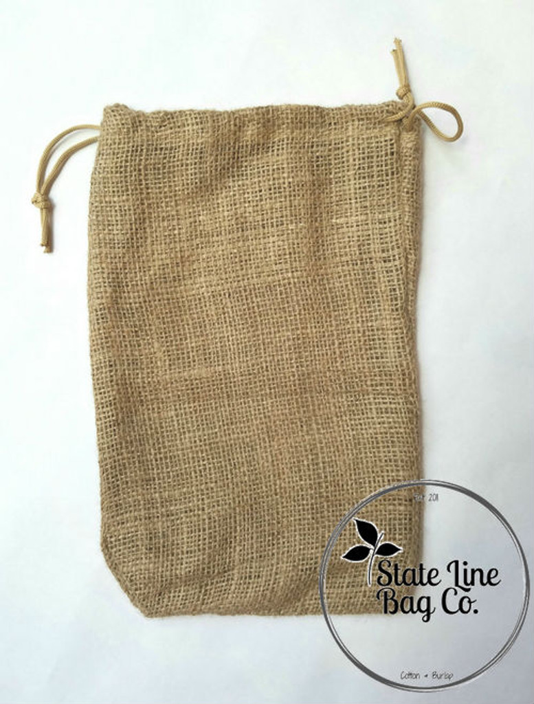 "8"" x 12"" Burlap Bag Double-Drawstring"