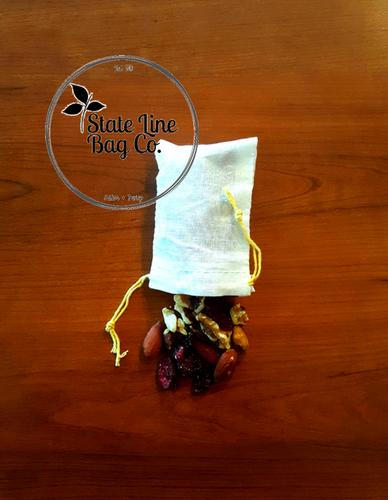 "2.75"" x 4"" Economy Single - Drawstring Cotton Muslin Bags - 100 Count"