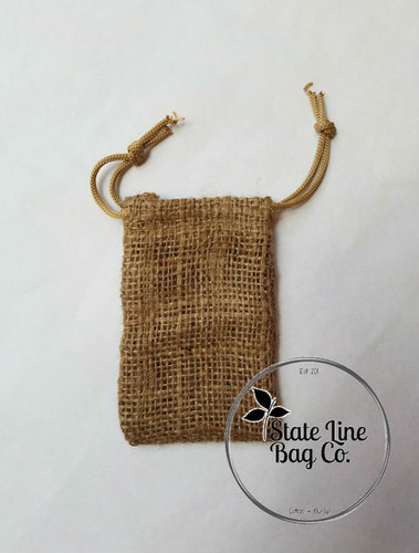 "3.25"" x 5"" Burlap Bag Double - Drawstring"