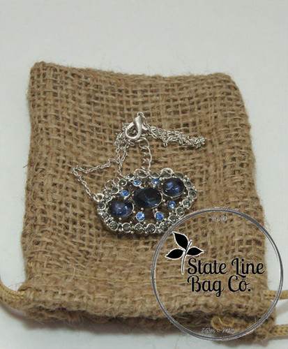"""3.25"""" x 5"""" Burlap Bag Double - Drawstring from State Line Bag"""