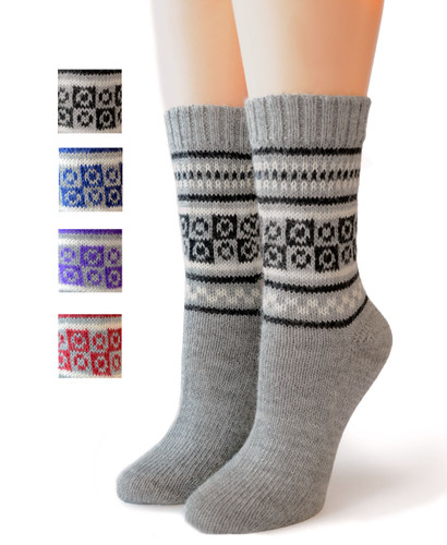 Fair Isle Pure Alpaca socks  Front showing color options